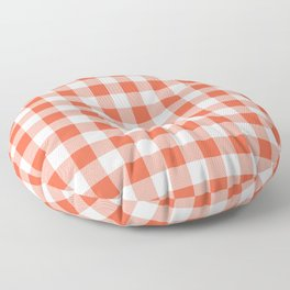Jumbo Living Coral Color of the Year Orange and White Buffalo Check Plaid Floor Pillow