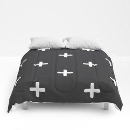 White Crosses on Charcoal Grey Comforters