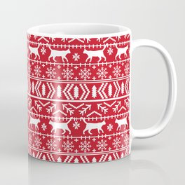 Cat sweater fair isle ugly sweater with cat christmas holiday decor gifts for cat person Coffee Mug