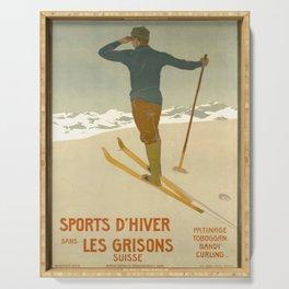 retro plakat Les Grisons 1900 voyage poster Serving Tray