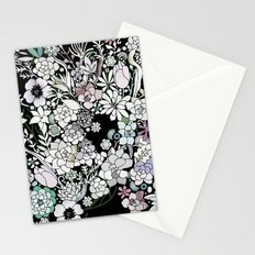 Colorful black detailed floral pattern Stationery Cards
