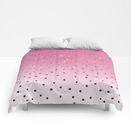 Black white polka dots pink glitter ombre Comforters