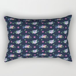 Tiny Flowers Ditsy Floral Navy Blue Rectangular Pillow