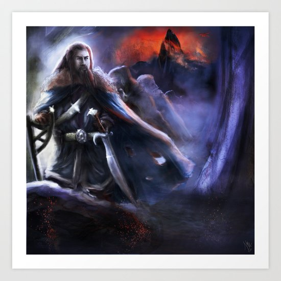 Thorin and the Lonely Moutain Art Print