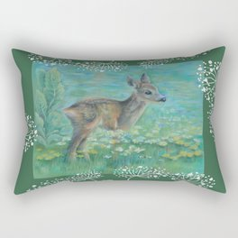 Roe on the spring meadow Rectangular Pillow