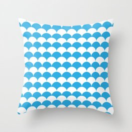 Blue Fan Shell Pattern Throw Pillow