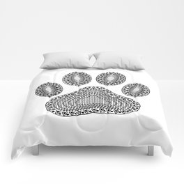 Ink Dog Paw Print Comforters