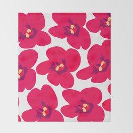 Red Retro Flowers #decor #society6 #buyart Throw Blanket