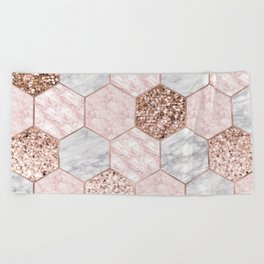 Rose gold dreaming - marble hexagons Beach Towel