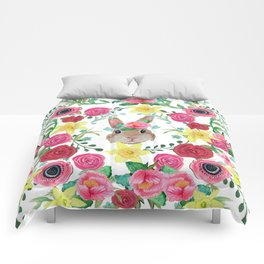 Easter rabbit floral beauty Comforters