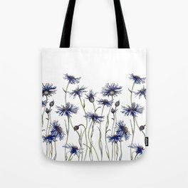 Blue Cornflowers, Illustration Tote Bag