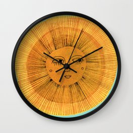 Sun Drawing - Gold and Blue Wall Clock