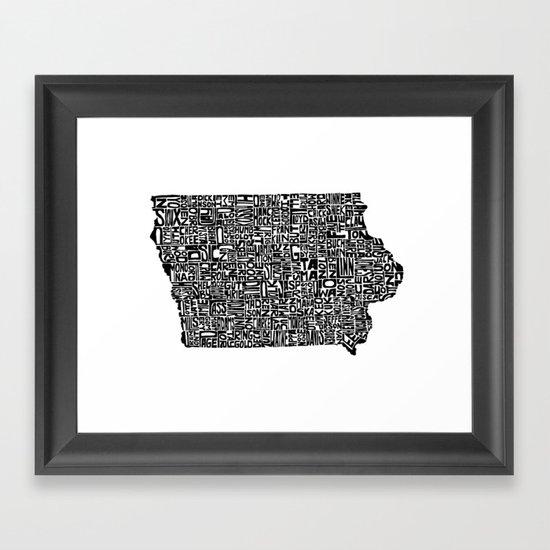 Typographic Iowa Framed Art Print