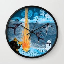 Holiday Skaters Wall Clock