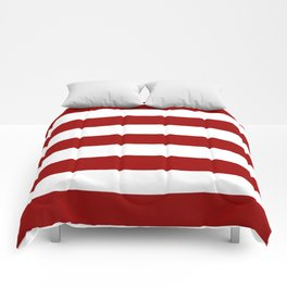 Crimson red - solid color - white stripes pattern Comforters
