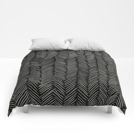 Herringbone Cream on Black Comforters
