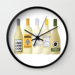 White Wine Bottles Illustration Wall Clock