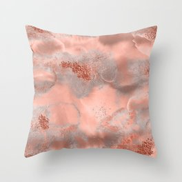 Copper Metal Fluid Ink Texture Throw Pillow