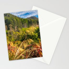 Alpine forest scenery at Wilson Bay in New Zealand Stationery Cards