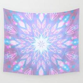 Purple, Teal, White Aura Mandala Wall Tapestry