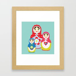 Turquoise babushka , matryoshka , russian doll , nursery decor , children gift, birthday gift Framed Art Print