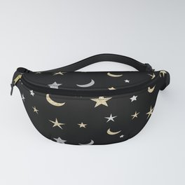 Gold and silver moon and star pattern on black background Fanny Pack