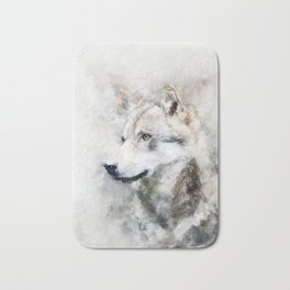 Watercolour grey wolf portrait Bath Mat