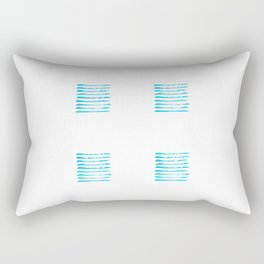 Turquoise blue stripes, hand painted rough texture Rectangular Pillow