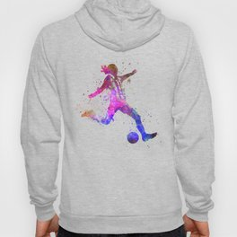 Girl playing soccer football player silhouette Hoody