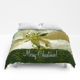 Pale Yellow Poinsettia 1 Merry Christmas S6F1 Comforters