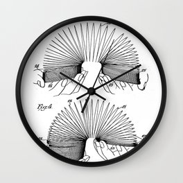 Slinky Patent - Slinky Toy Art - Black And White Wall Clock