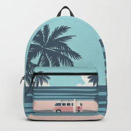 Surfer Graphic Beach Palm-Tree Camper-Van Art Backpack