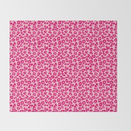 Leopard Print in Pastel Pink, Hot Pink and Fuchsia Throw Blanket