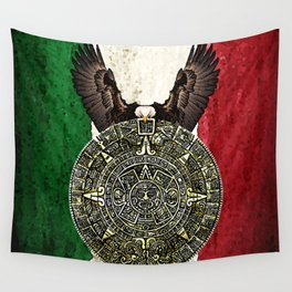 MEXICAN EAGLE AZTEC CALENDAR FLAG Wall Tapestry