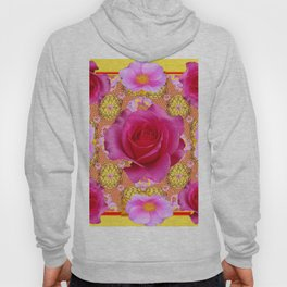 Fuchsia Pink Rose Patterns Sunflower YellowFloral  Art Hoody