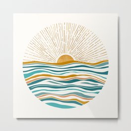 The Sun and The Sea - Gold and Teal Metal Print