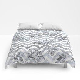 Vintage chic elegant blue gray white geometrical floral pattern Comforters