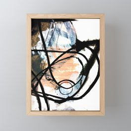 It comes and goes - a black and white abstract mixed media piece with pink details Framed Mini Art Print