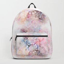 Whimsical white watercolor mandala design Backpack