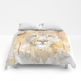 """Watercolor Painting of Picture """"African Lion"""" Comforters"""