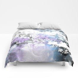 Watercolor Floral Lavender Teal Gray Comforters