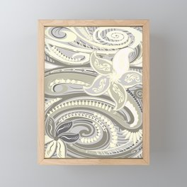 Polynesian Tribal Butter Yellow Threads Framed Mini Art Print