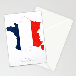 France Map Flag Silhouette Stationery Cards
