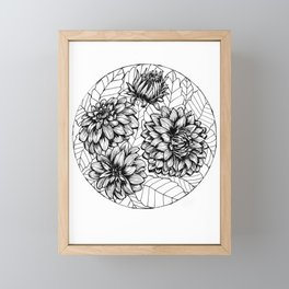 Dahlia Circle Line Art Framed Mini Art Print