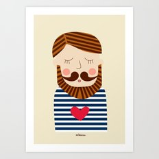 Bearded Sailor Lover Art Print