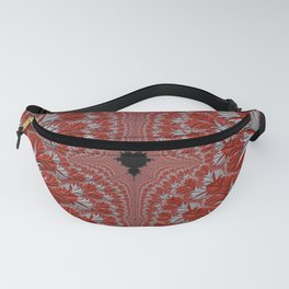 Red and White Abstract Fractal Fanny Pack