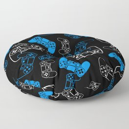 Video Games Blue on Black Floor Pillow
