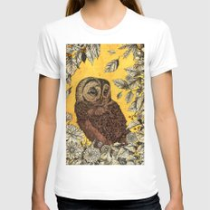 Tawny Owl Yellow White X-LARGE Womens Fitted Tee