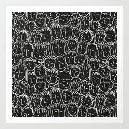 Black & White Hand Drawn People Pattern Art Print