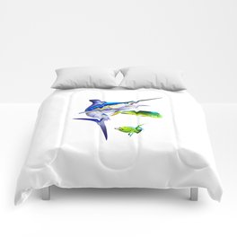 White Marlin Chasing Dolphin Fish Comforters